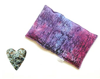 Hot cold pack, microwavable, aromatherapy, microwave heat pack, purple batik, freezer cold pack, flax seed, rice lavender buds, soothing