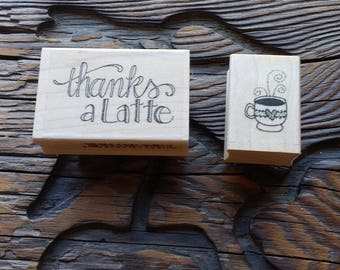 Set of Two - Thanks A Latte and Coffee Cup Stamps