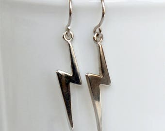 Sterling Silver Lightning Bolt Earrings, Lightning Earrings