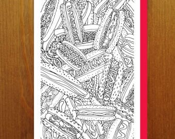 Hot Dogs! - Color Your Own Greeting Card - Adult Coloring Card