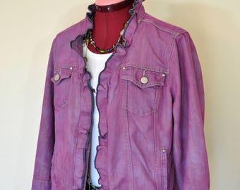"""Fuchsia Large Denim JACKET - Amethyst Pink Dyed Upcycled Christopher & Banks Denim Trucker Jacket - Adult Women Sz Large (44"""" chest)"""