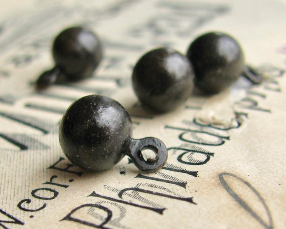 Tiny ball charm, black patina, 7mm (4 black balls) mini ball, round black ball, mini ball, black brass, black sphere, orb