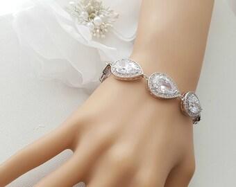 Crystal Bridal Bracelet, Rose Gold Bracelet, Wedding Jewelry, Gold, CZ Bracelet, Crystal Wedding Bracelet, Bridal Jewelry, Evita