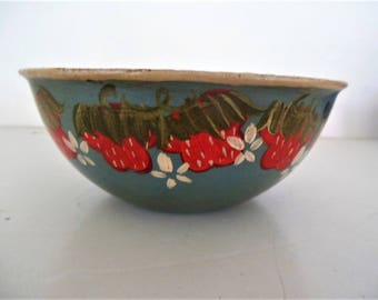 Strawberry Painted Metal Bowl, Signed, Dated 1985 on Teal Ground