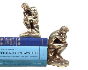 metal bookends. thinking man. brass bookends. bookends vintage. cast metal. the thinker. library decor. metal figurine. metal statue. figure