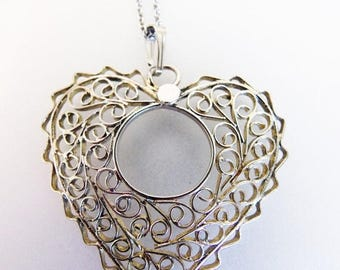 ON SALE Cute Vintage Sterling Silver Filigree Heart Pendant Necklace