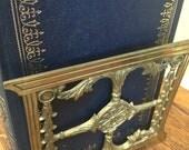 Art Nouveau Adjustable Brass Sliding Bookends, Estate Find