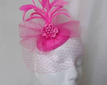Bright Fuchsia Hot Lipstick Pink Vintage Style Blusher Veil Feather Plume & Crinoline Fascinator Hat - Wedding Royal Ascot- Ready Made