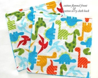 Toddler Washcloths, Kids Washcloths, Reusable Baby Wipes, Cotton Flannel and Terry Cloth, Boy Dinosaurs Baby Washcloths