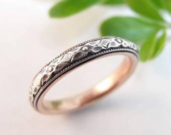 Skinny Wedding Band Womens Wedding Band Sterling Silver Wedding Rose Gold Wedding Womens Wedding Ring Womens Ring Narrow Floral Wedding 7