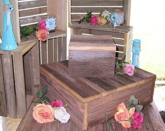 PICK ME SALE Rustic Cupcake stand wedding decorations reception 3 Tier Cake Box Stand Barn wood country outdoor reception