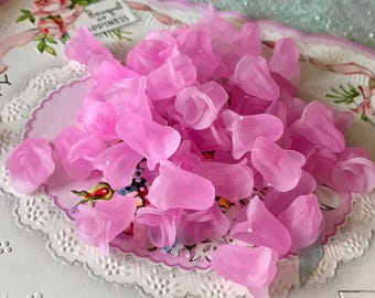 Vintage Tulip Beads,Undrilled Beads,Pink Flowers,Lucite Flowers,Rose Cabochons,Delphinium Beads,Pink, Bulk Beads, Victorian #1262