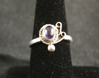 Iolite and Sterling Silver Ring Size 7 3/4