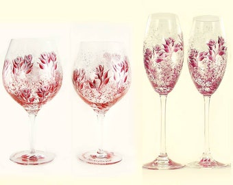 Personalized Anniversary Gift Set - Choice of Hand Painted Stemware - Elegant Ruby Red and Silver Hand-Painted Roses - 35th 25th Anniversary