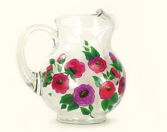 Poppies Flower Pitcher - Hand Painted Beverage Water Pitcher - Bright Pink Purple Poppy Flowers - Juice Martini Pitcher Housewarming Gifts