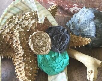 Headwrap Headband // Cream Chevron and Triple Matching Rose // Fabric Headband