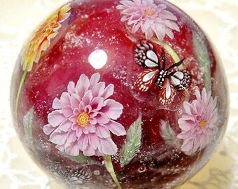 Pink & Yellow Dahlia Flower with Chestnut Tiger Butterfly Satake Glass Lampwork Flower Marble sra