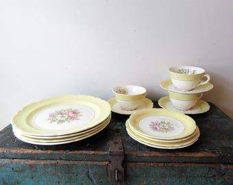 Vintage 40s French Saxon China Dinnerware Yellow Rim Flowers 40s 14pc 22K Gold Shabby Chic