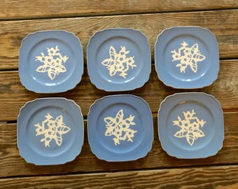 1940s 6 Cameo Ware Cake Plates Harker Pottery USA Wedgwood Blue & White Intaglio Flower Scalloped Square Dessert Bread Dishes Gorgeous