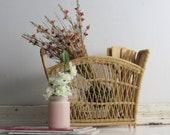 Vintage Rattan basket – wicker - mid century - rattan basket – mcm décor