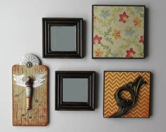 wall collage - Harmony - 5 pc vintage  wall art with  mirrors- feng shui