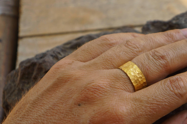 24k wedding band24k yellow goldartisan hammered handmadefine