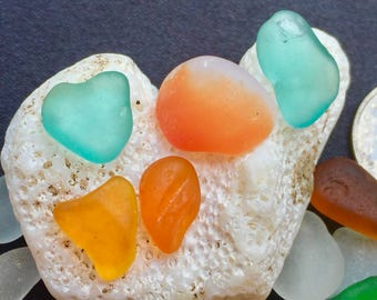 Sea Glass or Beach Glass of Hawaii beaches!  ORANGE! YELLOW! Jewelry quality!  Seaglass Genuine Sea Glass! Bulk Sea Glass!