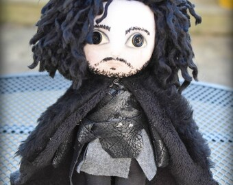 On Sale JON SNOW Doll Inspired  by Game of thrones OOAK Handmade Art doll cloth doll collectible Gothic doll rag