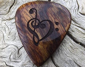 Wood Guitar Pick - Premium Handmade Quality - Caribbean Rosewood - Laser Engraved On Each Side - No Stock Photos - Actual Pick