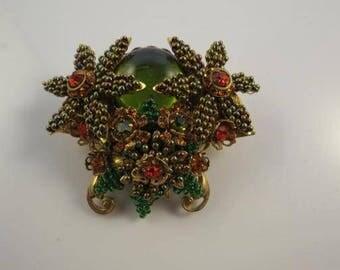 Vintage Stanley Hagler NYC Glass Beaded Brooch