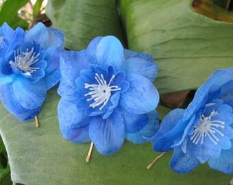 Blue  Larkspur flowers set of 3 bobby pins - hair clips - Weddings