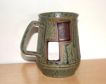 MCM Huge Mug - Stoneware Made in Japan - Mid Century Modern circa 1960s Beer Stein Large Coffee Cup Tankard