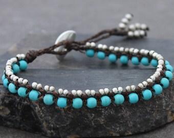 Turquoise Beaded Bracelets Green Stone Woven Silver Petite Cute