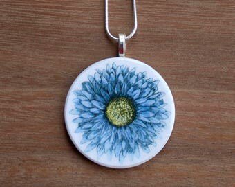 Cornflower Necklace, Cornflower Pendant, Vintage Cornflower, Handcrafted Jewelry, Gift for Nature Lovers, Free Shipping in US