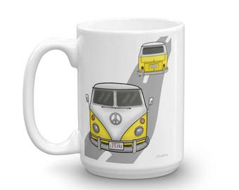 VW Camping Mug - VW Camper Van Coffee Cup - Gift for Car Lovers - Camping Lover Mug - Classic Car Gift Idea - Campfire Mug - yellow VW Bus