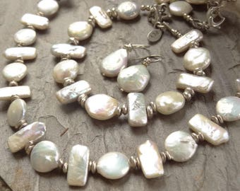 Freshwater Pearl Necklace, Bracelet, Earrings - Freshwater Pearl Set - Jewelry Set - Pink Lustre - Sterling - Pearls Set