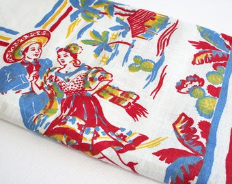 Midcentury table cloth with Mexican folk dancers. Blue, yellow and red tablecloth, Mexico, palm trees, cactus, countryside, village scene