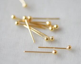 100pcs Gold Ball Point Headpins 12mm Long, 24K Gold plated Brass Ball Head Pins, 0.5mm/ 24 Gauge Thick (GB-140)