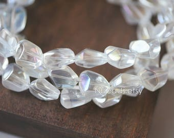 Crystal Glass Unique Stone Shaped beads 16mm Sparkly Clear AB (GM005-12NEW)/ 48 beads