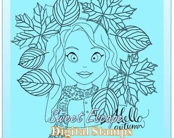 Hello Autumn Digital Stamp