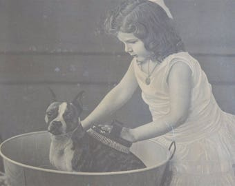 Antique Girl and Boston Terrier Dog Art Print in Original Frame Vintage Early 1900's