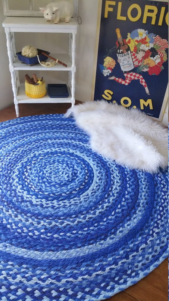 "54"" royal blue braided rug made from cotton shabby chic style"