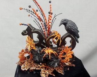 Boo Centerpiece, Halloween Decoration, Black and Orange Decoration, Halloween Table Decoration, Halloween Raven, Boo Sign, Boo Halloween