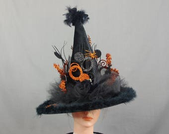 Whimsical Witch Hat, Black Witch Hat, Orange Witch Hat, Elegant Witch Hat, Classic Witch Hat, Decorated Witch Hat, Fancy Witch Hat
