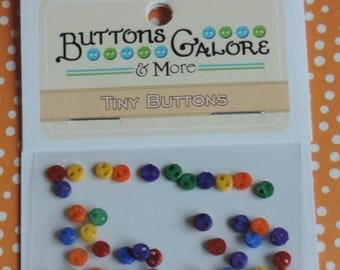 SALE Primary Tiny Micro Buttons, Packaged Assortment by Buttons Galore, Style #1805, 2 Hole, Teeny Tiny Buttons, Sewing, Crafting, Embellish