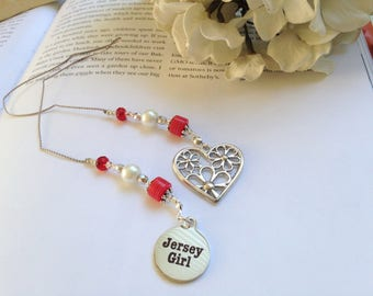 New Jersey Beaded Bookmark Girlfriend Gift-Jersey Girl Charm Silver Red Flowered Heart Hippie Summer Shore Book Thong Reading Love NJ State