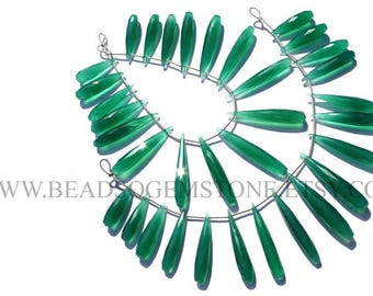 Semiprecious Stone, Green Onyx Faceted Drops (Long) (Quality AAA) / 6.5x24 to 7.5x42 mm / 18 cm / GR-037