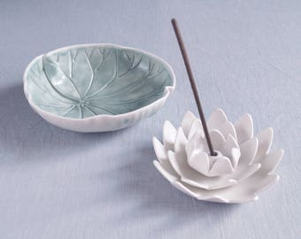 Water LILY set, porcelain flower incense holder and leaf oil burner bowl, ceramic candle bowl, candle holder, incense burner, zen decor