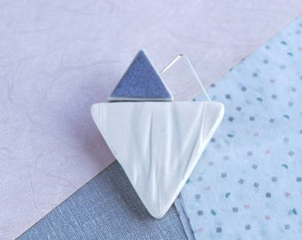 RUCHED No9 geometric heart brooch, white porcelain brooch, blue grey glaze, sterling silver wire, geo brooch, asymmetric ceramic brooch,