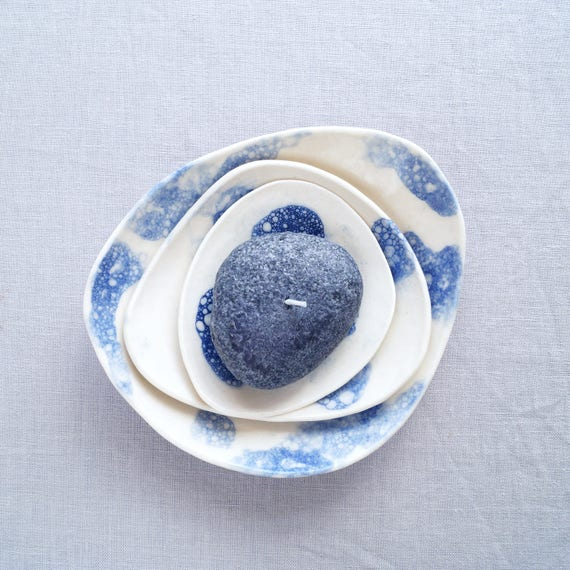 PEBBLE porcelain bowl set, cobalt blue bubbles, ceramic bowls, candle bowl, jewellery bowl, serving bowl, bathroom accessory